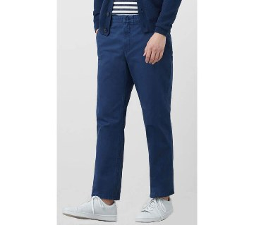 Mango Straight Fit Casual Chino Pants- Navy Blue