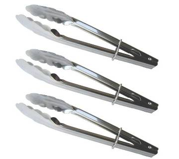 3 Stainless Steel Clam Shell Food Service Tongs