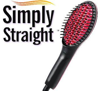 Simply Straight Ceramic Hair Straightening Brush, Black/Pink