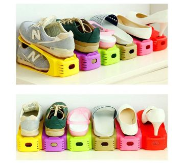 Plastic Shoe Rack Organizer / Storage Holder Support Organizer- Multicolour -4Pcs