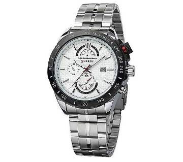 Silver Stainless Steel Chronograph Watch for Men