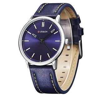 Curren Navy Blue Strap Leather Wrist Watch For Men