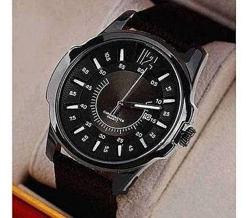 Leather Analog Watch For Men - Black