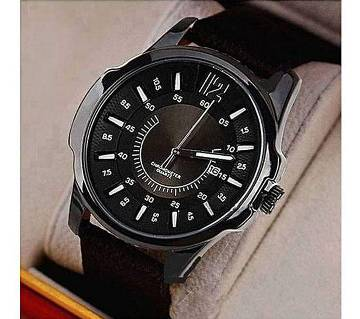 Black PU Leather Analog Wrist Watch for Men