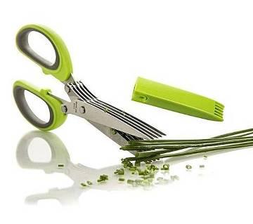 Stainless Steel 5 Blade Kitchen Scissors - Green