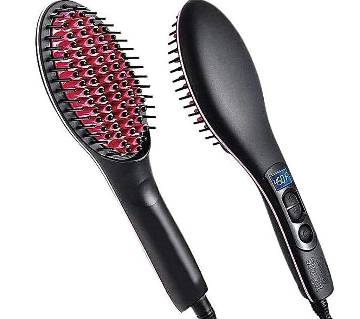 Simply Straight Ceramic Brush Hair Straightener - Black and Pink