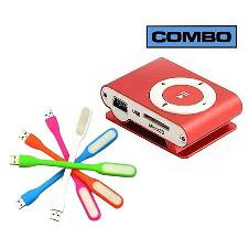 Combo Offer of Multicolor USB LED Light and Red MP3 Player