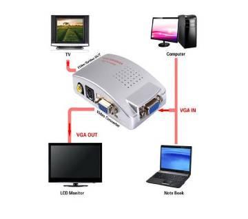 PC VGA to AV TV RCA ভিডিও কনভার্টার