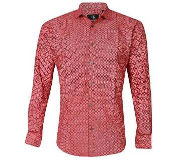 Salmon Cotton Long Sleeve Casual Shirt for Men