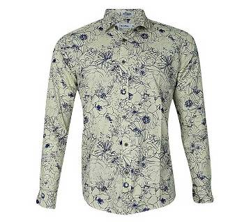 Ivory Cotton Long Sleeve Casual Shirt for Men