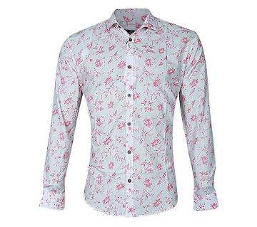 White and Pink Cotton Long Sleeve Casual Shirt for Men