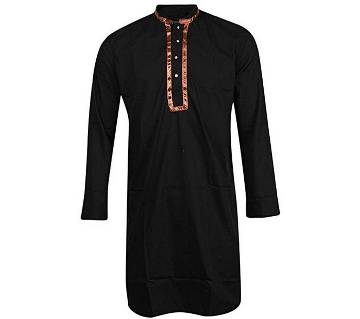 Menz Long Cotton Panjabi- Black