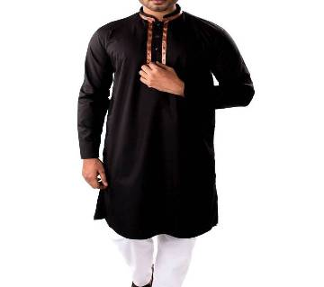 Black Cotton Long Panjabee For Men