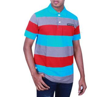 Multicolor Cotton Short Sleeve Polo for Men