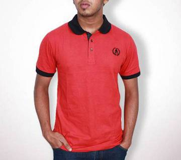 Red and Black Cotton Polo Shirt For Men