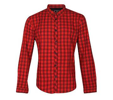 Red Cotton Long Sleeve Casual Shirt for Men
