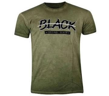 Olive Cotton Washed T-Shirt for Men