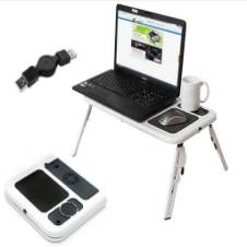 Portable e-table with cooling fan