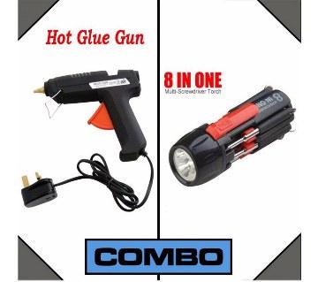 Hot Melt Glue Gun + 8 in 1 Screw Driver Combo Offer
