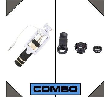 combo of 3 IN 1 lens and pocket selfi stick