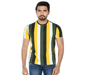 Raw Nation Vertical stripe round neck cotton muscle fit T- Shirt