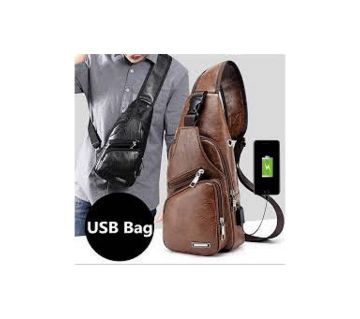 Small Charging leather side bag