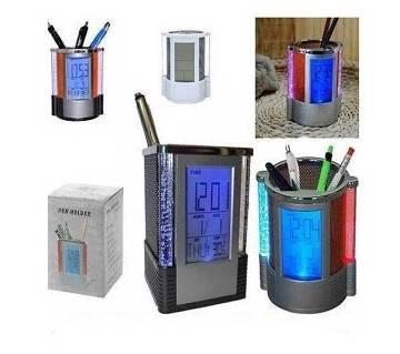 Digital pen holder clock with temperature display