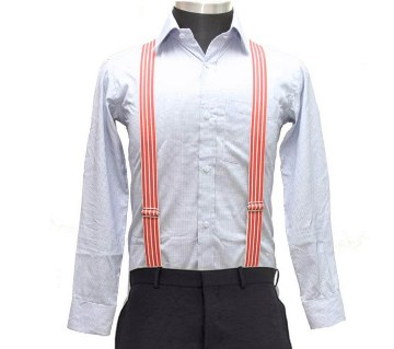 Orange & White Striped Elastic Suspenders