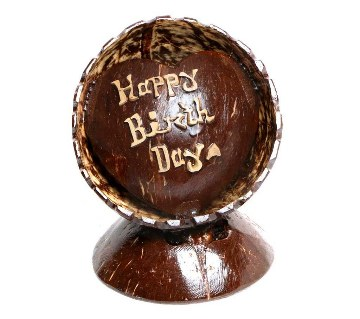 Happy Birth Day Hand Made Coconut Shell Show Piece