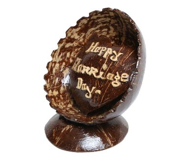 Happy Marriage Day Hand Made Coconut Shell Show Piece