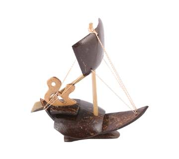 Coconut Shell made One Sailing Boat Showpiece