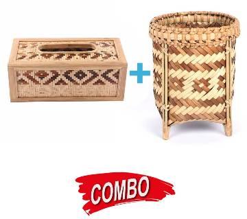 Tribal made pen holder + Handmade Tissue Box Cover Combo Offer
