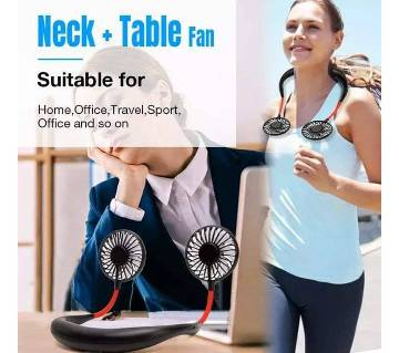 Neck Fan Portable Rechargeable, Hand-Free Tiny Fan With USB - 3 Speed Wearable Adjustable Fan, Personal Electric Cooling Fan For Travel Camping Outdoor Quiet Operation