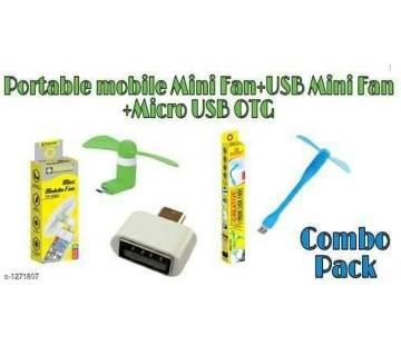 USB Fan + OTG Cable + OTG(Mobile) Fan
