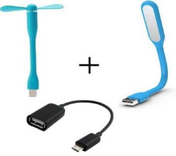 USB fan+ LED light + OTG adopter