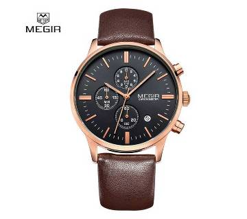 MEGIR 2011 Genuine Leather Coffe Color Chronograph Wathces - Men