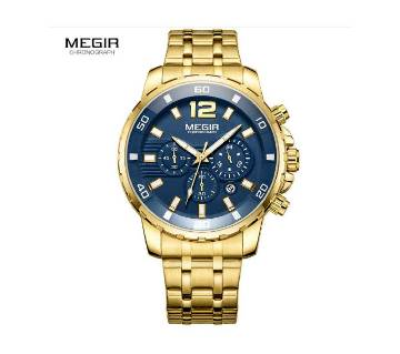 MEGIR 2068 Stainless Steel Gold Chronograph Watches - Men