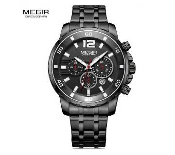 MEGIR 2068 Stainless Steel Black Chronograph Watches - Men
