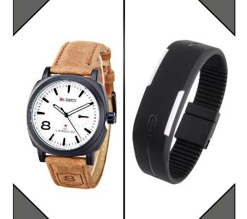 Curren Watch+LED Sports Watch Combo Offer