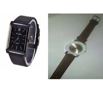 TITAN Wrist Watch+BARIHO Ladies Watch-Copy Combo