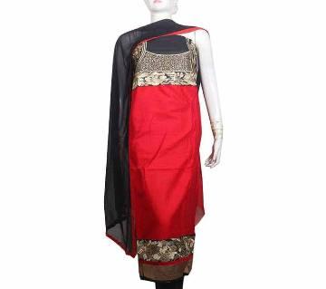 Unstitched Cotton Salwar Kameez Three Piece - Red