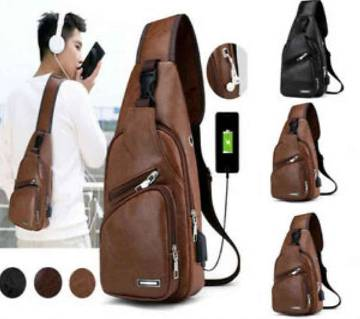 Leather Sling Bag with USB Charging Port-Brown