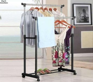 Cloth Hanger Tidy Rail - Black and Silver