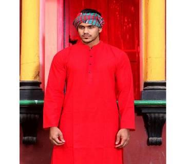 Red Boishakhi Panjabi with free gamcha