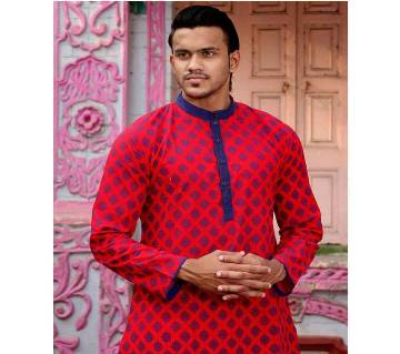 Red all over printed Boishakhi Panjabi