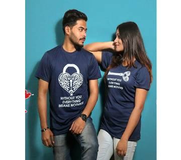 Navy Blue Couple T-Shirt for Valentines Day by Ritzy