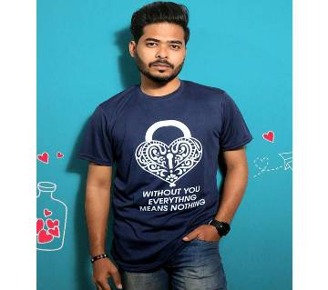 Navy Blue Mens T-Shirt for Valentines Day by Ritzy