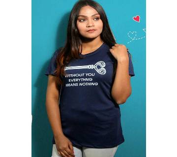 Navy Blue Womens T-Shirt for Valentines Day by Ritzy