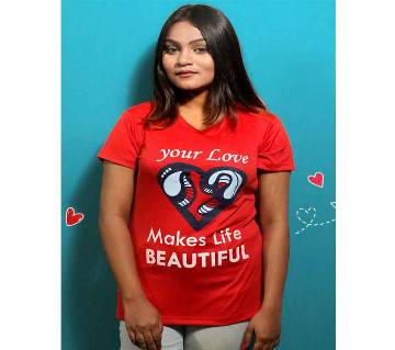 Red Womens T-Shirt for Valentines Day by Ritzy