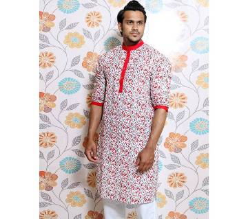 White all over printed Panjabi for Men by Ritzy